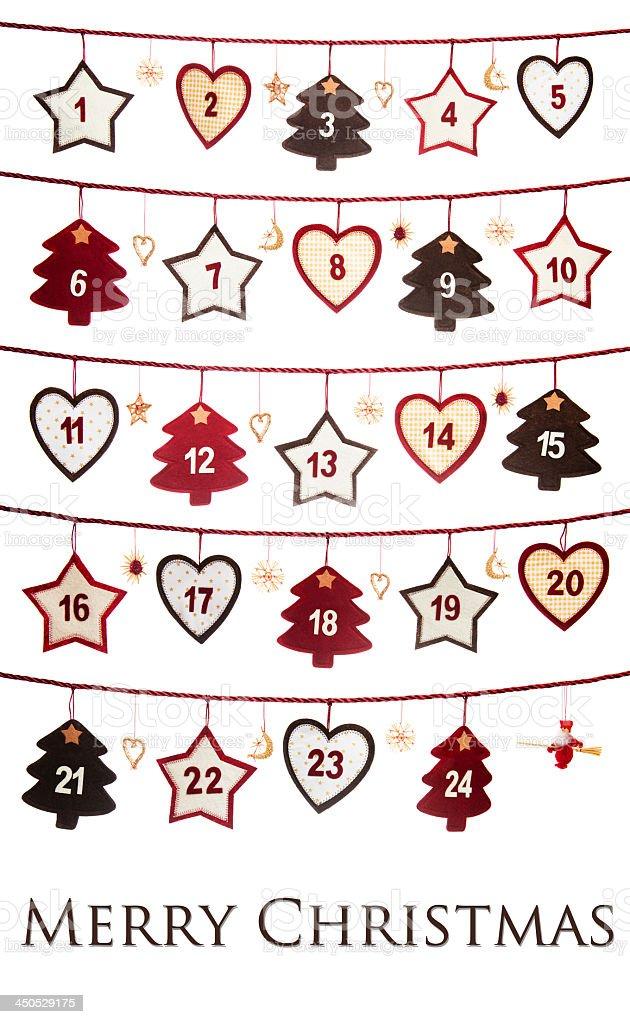 Christmas advent doodle calendar stock photo