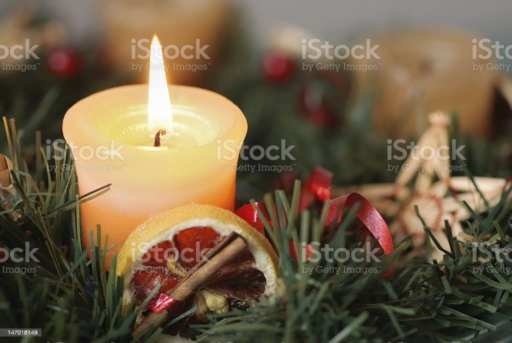 Christmas advent wreath - detail royalty-free stock photo