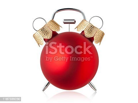 Red Christmas ball on white background.