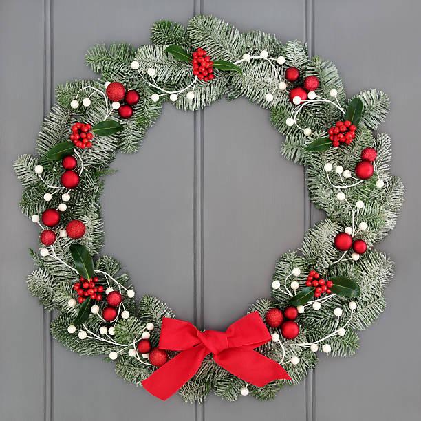 weihnachten kranz und advent - türbänder stock-fotos und bilder