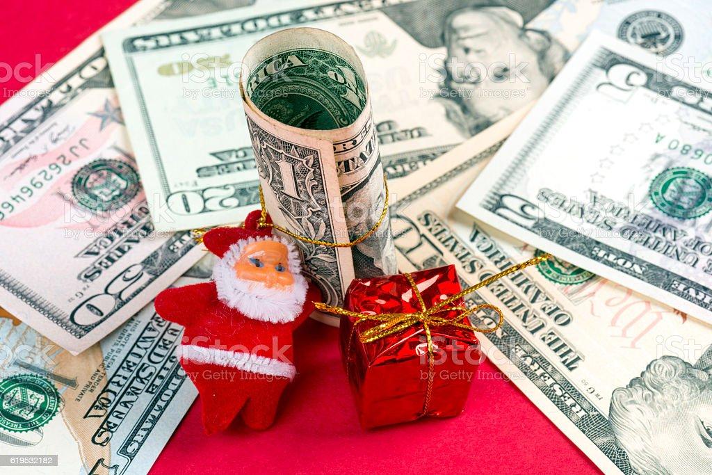 Christmas and American Dollars stock photo