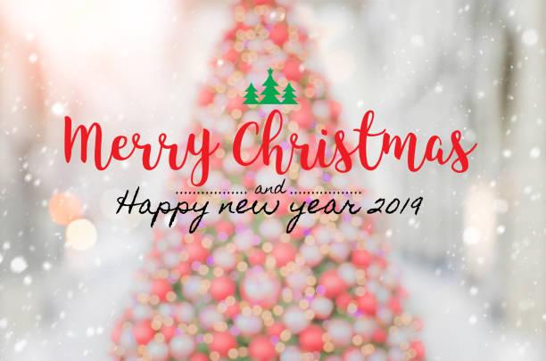 weihnachten und glückliches neues jahr 2019 auf unscharfen bokeh weihnachtsbaum banner hintergrund mit schneefall. - zitate weihnachten stock-fotos und bilder