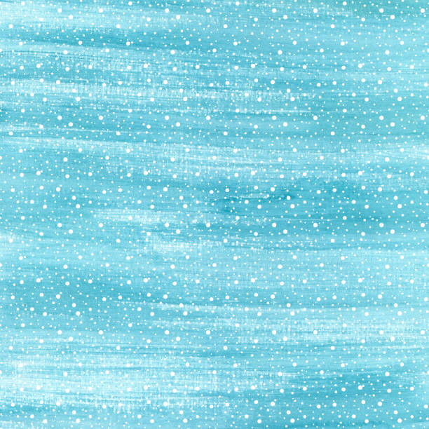 Christmas and Happy New Year background. Hand drawn turquoise blue watercolor abstract texture with snowflakes. Falling snow raster holiday backdrop for card. stock photo
