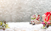 Christmas and Happy New Year background. Winter season holiday with red wine and copy space for text.
