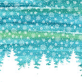 Christmas and Happy New Year greeting card. Hand drawn watercolor winter holidays landscape background with trees, snowflakes, falling snow.