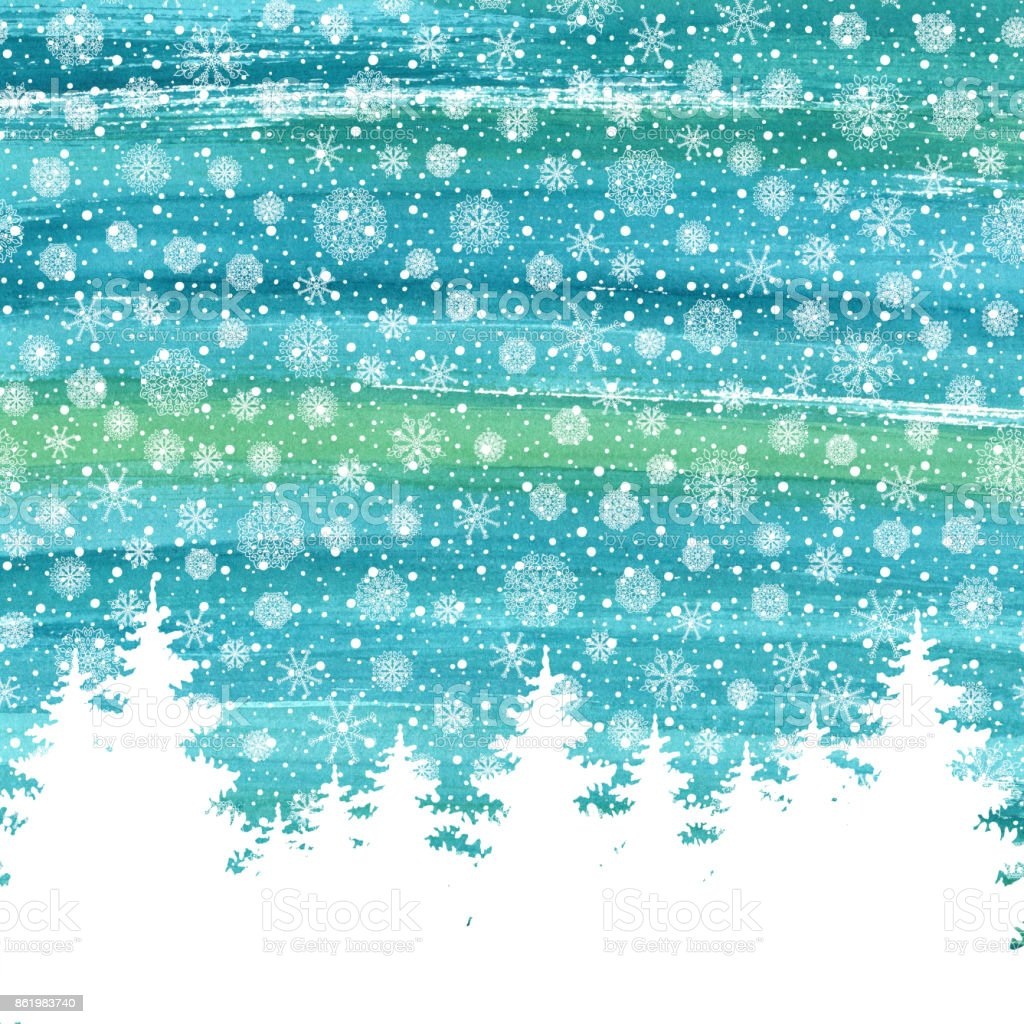 Christmas and Happy New Year greeting card. Hand drawn watercolor winter holidays landscape background with trees, snowflakes, falling snow. stock photo