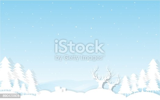 istock Christmas and New Year background. Decorated  with winter landscape,snowflakes, light, stars, fir tree , moon. greeting card. vector Illustration. 890420928
