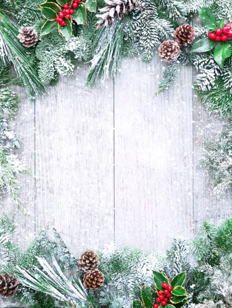 Christmas and New Year background with fir branches stock photo