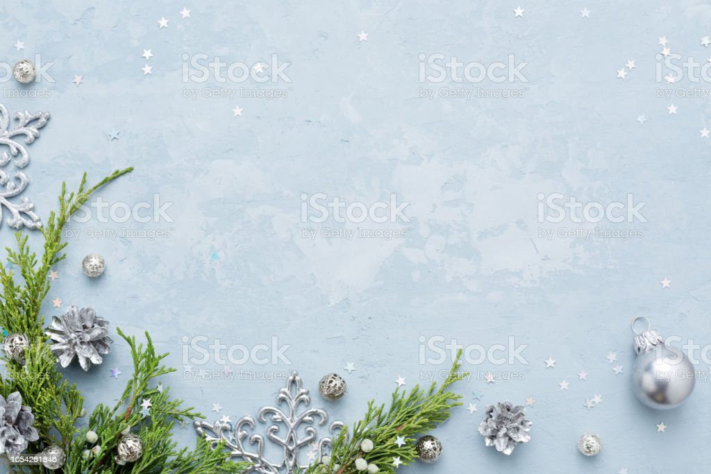 christmas and new year background with frame of silver decorations on blue copy space stock photo download image now istock christmas and new year background with frame of silver decorations on blue copy space stock photo download image now istock