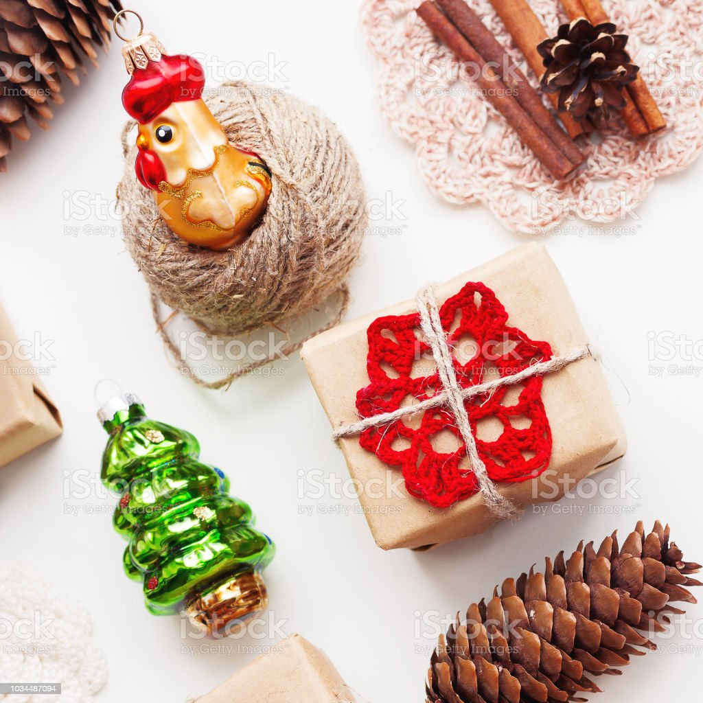 Christmas And New Year Background With Handmade Presents