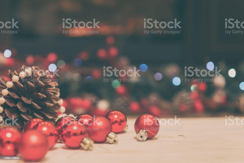 Weihnachten und Neujahr Hintergrund mit Urlaub Dekoration, Beleuchtung und festliche bokeh – Foto