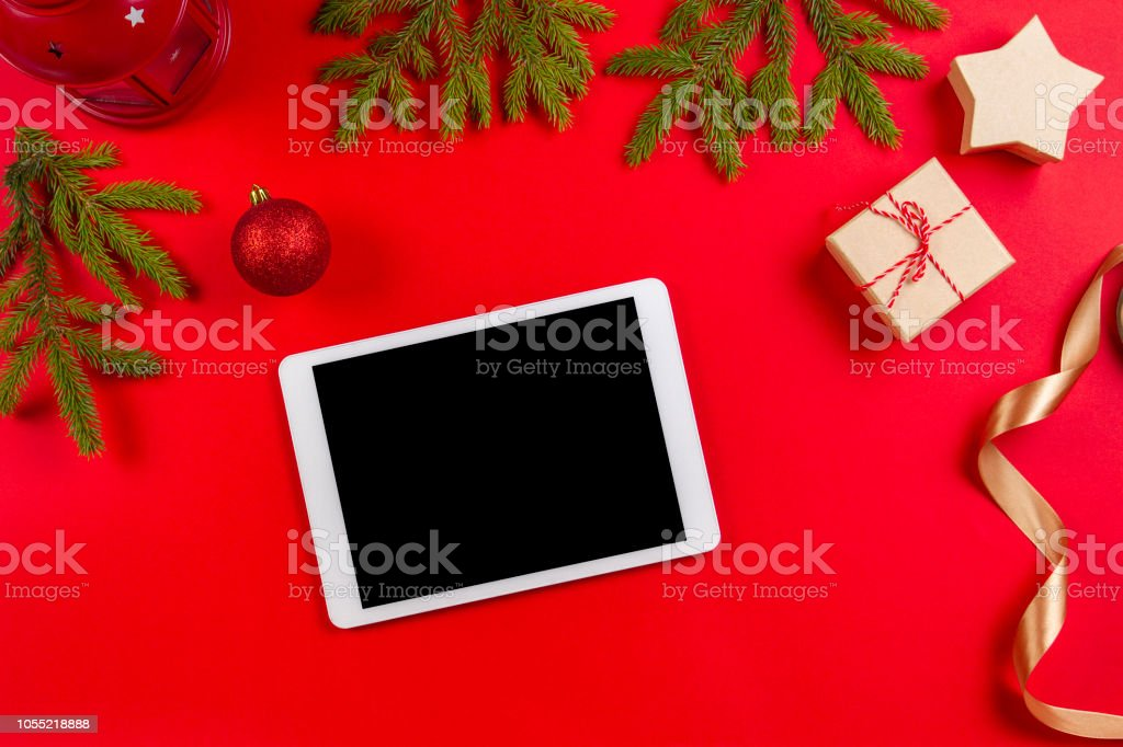 Christmas Backgrounds For Computer.Christmas And New Year Background With Tablet Computer Fir