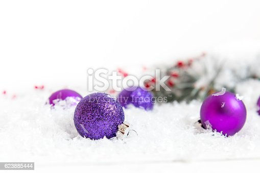 Christmas And New Year Balls On Light Background Stock Photo & More Pictures of Branch - Plant Part