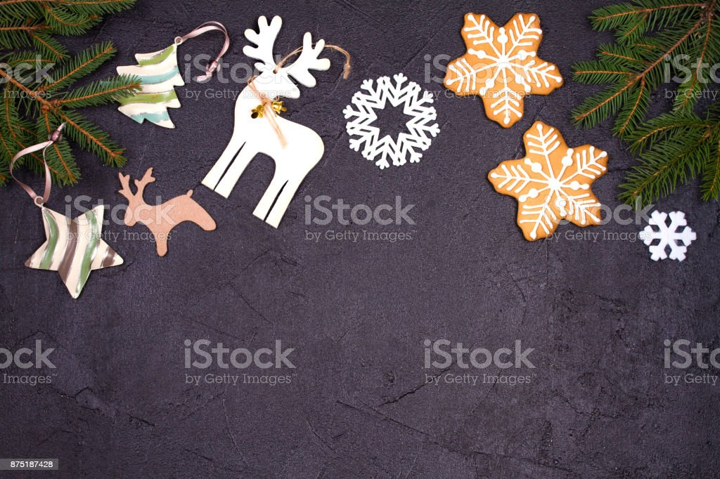 christmas and new year border or frame on black background winter holidays concept royalty