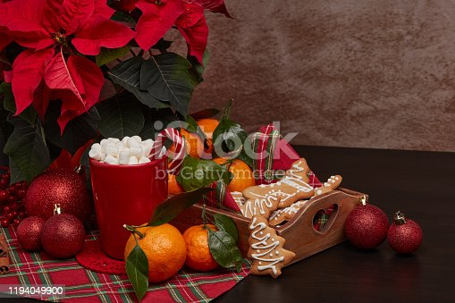 istock Christmas and New Year decorations and treat: gingerbread, cocoa with marshmallow and mandarins. 1194049900