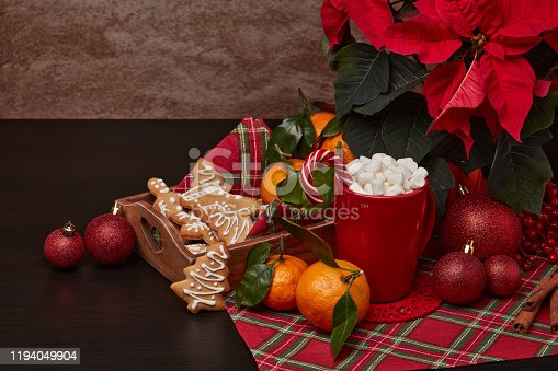 istock Christmas and New Year decorations and treat: gingerbread, cocoa with marshmallow and mandarins. 1194049904