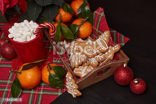istock Christmas and New Year decorations and treat: gingerbread, cocoa with marshmallow and mandarins. 1194049913