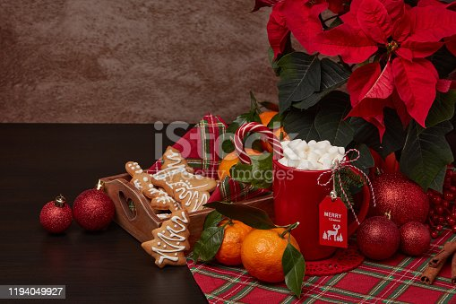 istock Christmas and New Year decorations and treat: gingerbread, cocoa with marshmallow and mandarins. 1194049927