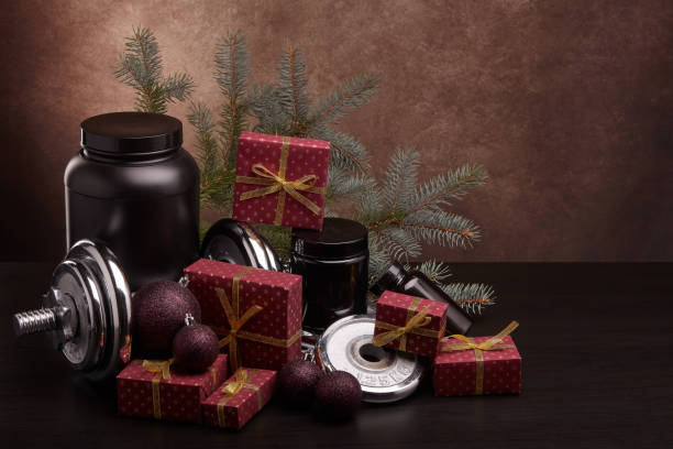 Christmas and New Year fitness stock photo