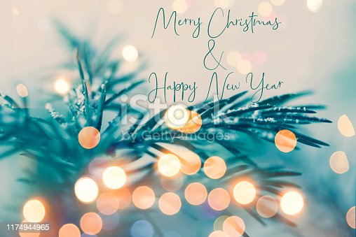 istock Christmas and New Year greeting card with writing elements 1174944965