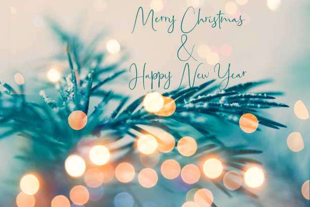 Christmas and New Year greeting card with writing elements stock photo