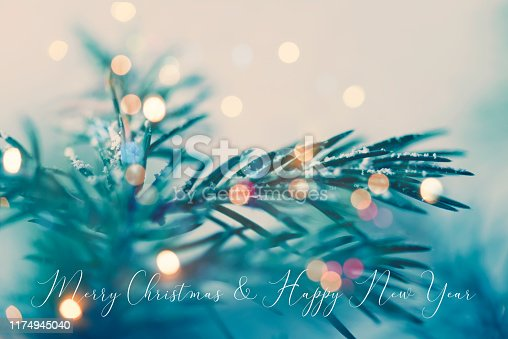 istock Christmas and New Year greeting card with writing elements 1174945040