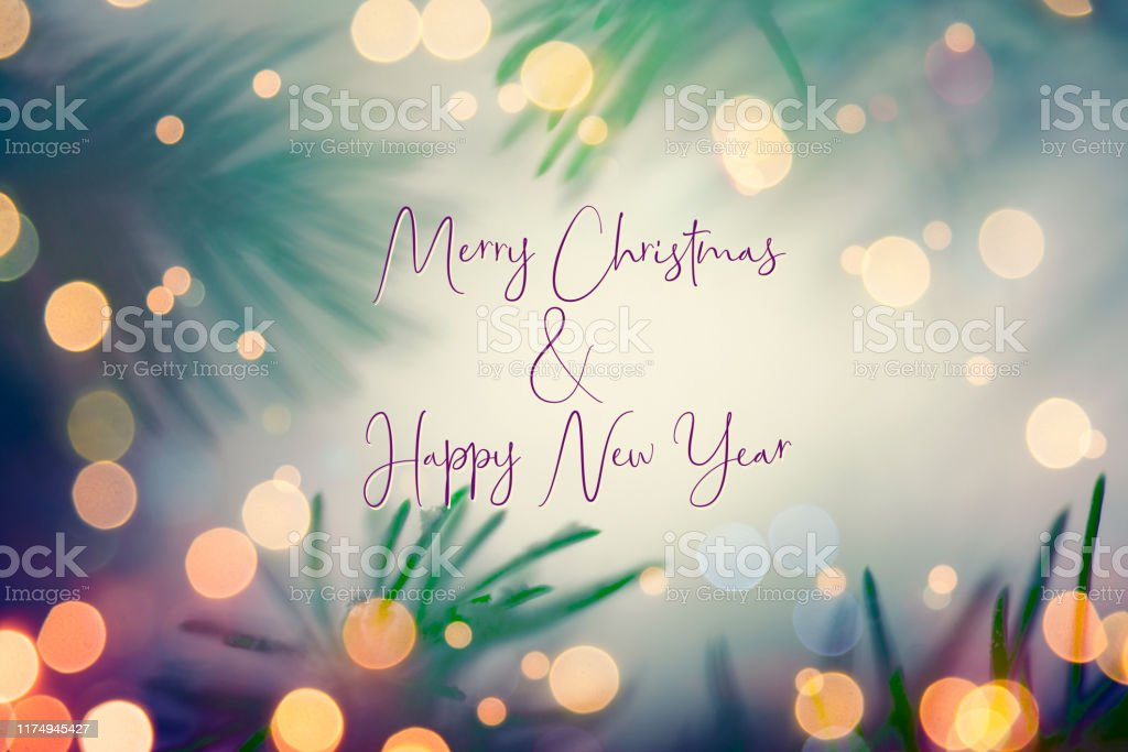 Christmas And New Year Greeting Card With Writing Elements
