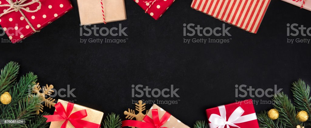 Christmas and New Year holiday  banner background top view border design on blackboard stock photo