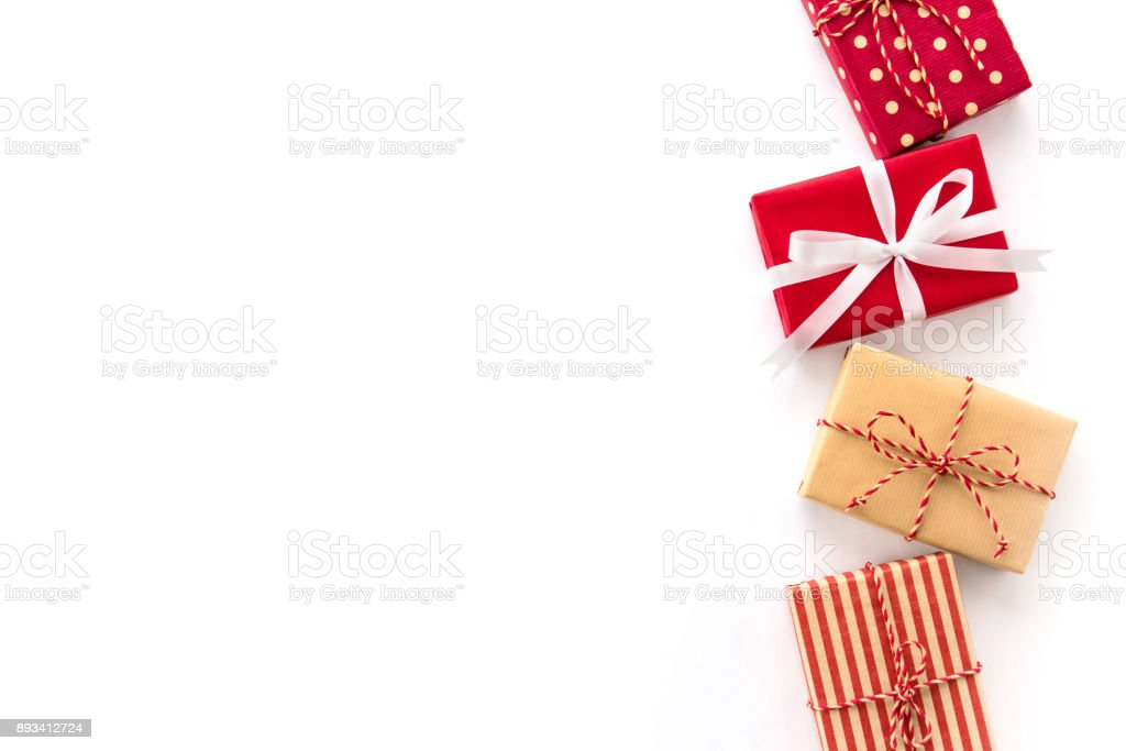 Christmas and New Year holiday gift boxes on white background, creative idea border design stock photo