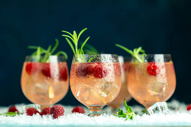 Christmas and New Year holiday raspberry drink stock photo