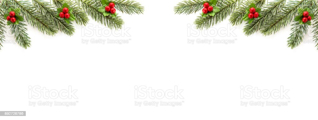 Christmas and New Year holiday  top view border design banner background stock photo