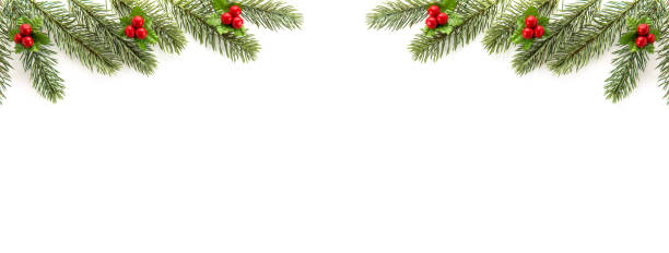 Christmas and New Year holiday  top view border design banner background - foto stock