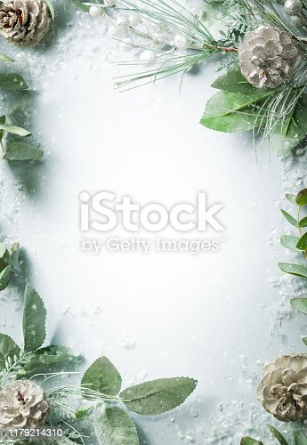 istock Christmas and New Year holidays concept with snowy fir branches and pine cone on light background 1179214310