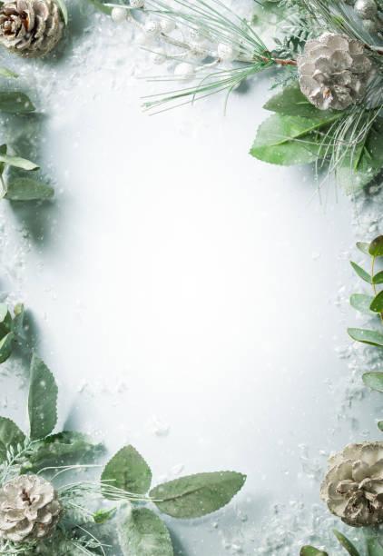 kerst en nieuwjaar vakantie concept met besneeuwde fir takken en pine cone op lichte achtergrond - december stockfoto's en -beelden