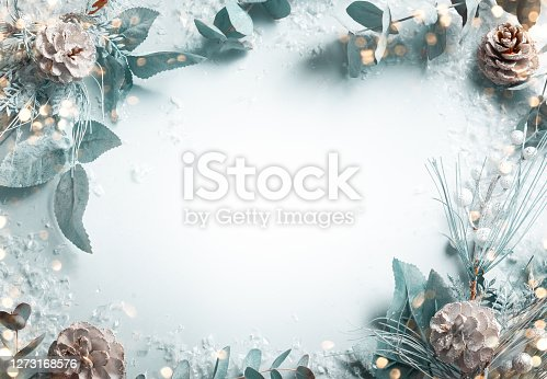 istock Christmas and New Year holidays concept with snowy fir branches 1273168576