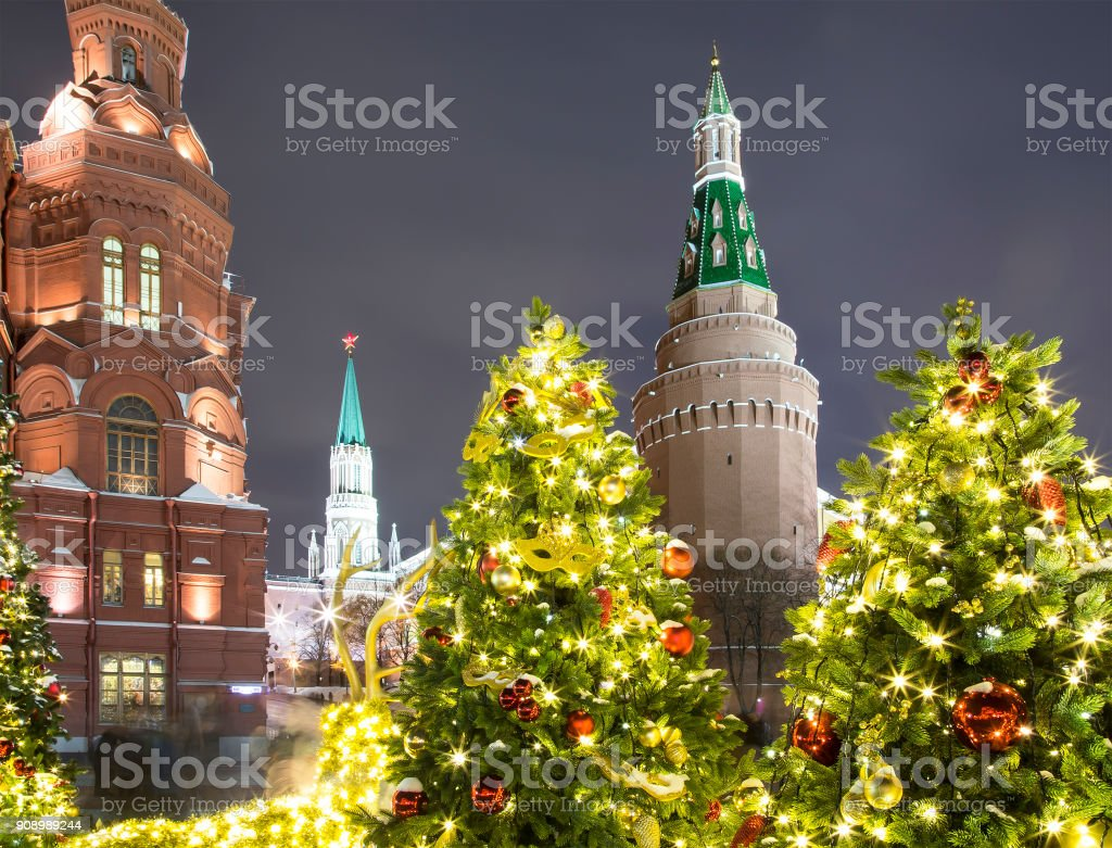 Christmas and New Year holidays illumination at night, Kremlin in Moscow, Russia. stock photo