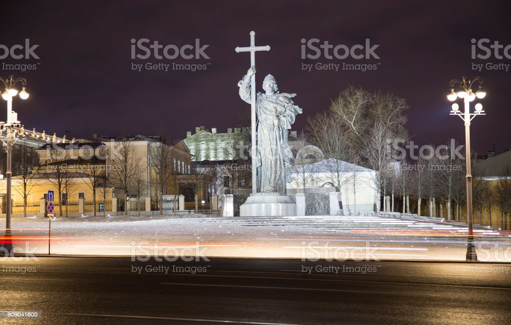 Christmas and New Year holidays illumination at night, Monument to Holy Prince Vladimir the Great on Borovitskaya Square in Moscow near the Kremlin, Russia stock photo