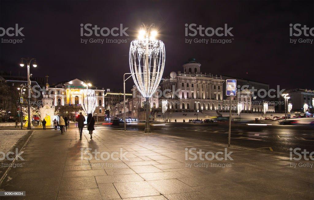 Christmas and New Year holidays illumination at night, Pashkov House, neoclassical mansion near Kremlin (by Vasily Bazhenov), Moscow, Russia stock photo