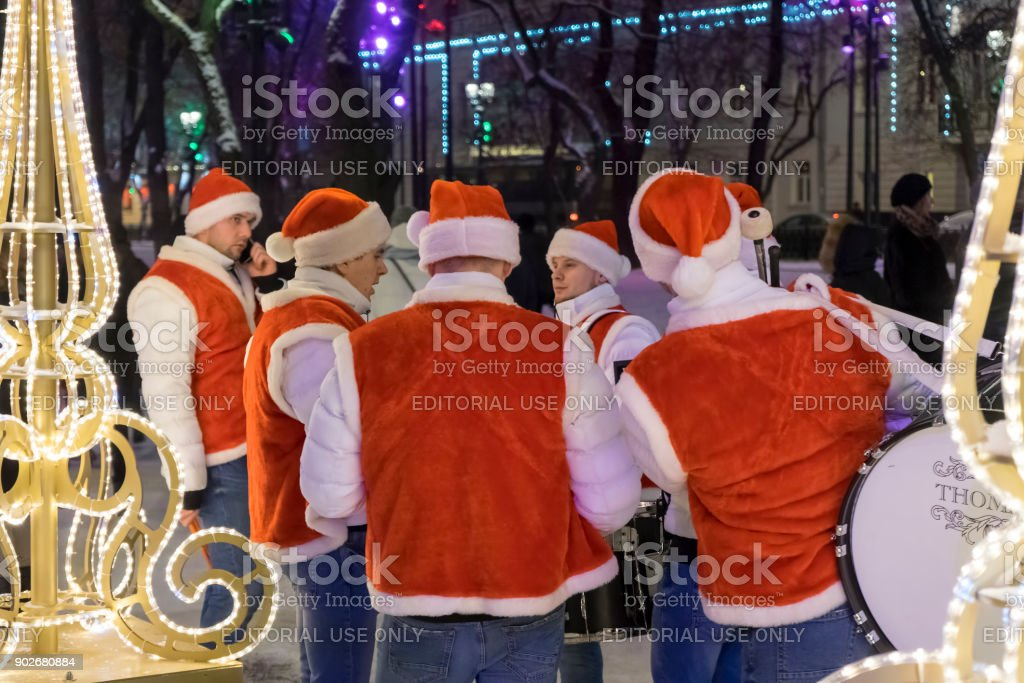 Christmas and New Year holidays in Moscow stock photo