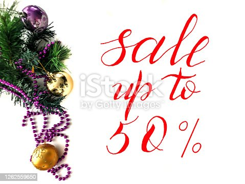 istock Christmas and New Year Sale, Gift Voucher, Discount Coupon with the inscription - sale up to 50 percent 1262559650