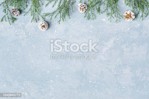 istock Christmas and New Year snowy background with twigs and cones. 1043840772