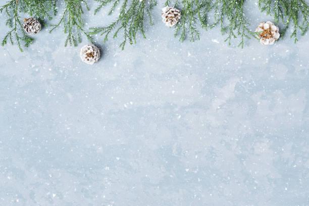 Weihnachten und Neujahr verschneiten Hintergrund mit Reisig und Zapfen. – Foto