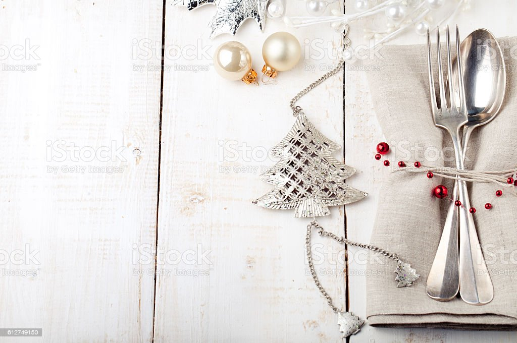 Christmas and New year table place setting stock photo