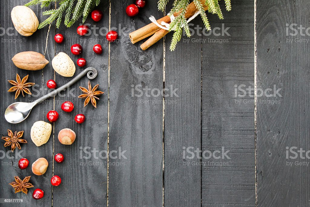 Christmas and new year theme. Black rustic wooden background stock photo
