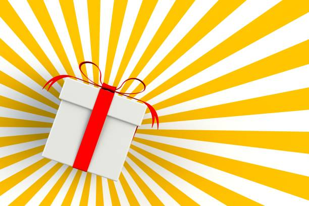 christmas and new years day red white gift box isolated on striped yellow background