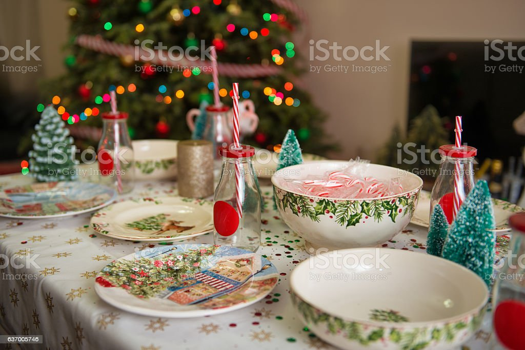 Christmas And New Yeartable Place Setting With Plates Decorations