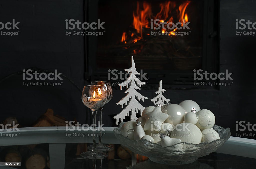 Weihnachten Und Winter Dekoration Vor Kamin Stockfoto Und Mehr Bilder Von 2015 Istock