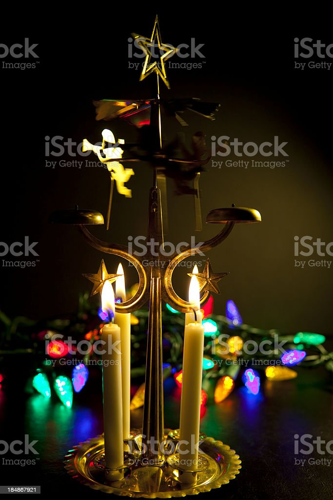 christmas angel chime with glowing lights royalty free stock photo