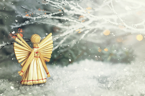 Christmas angel. Christmas straw ornament
