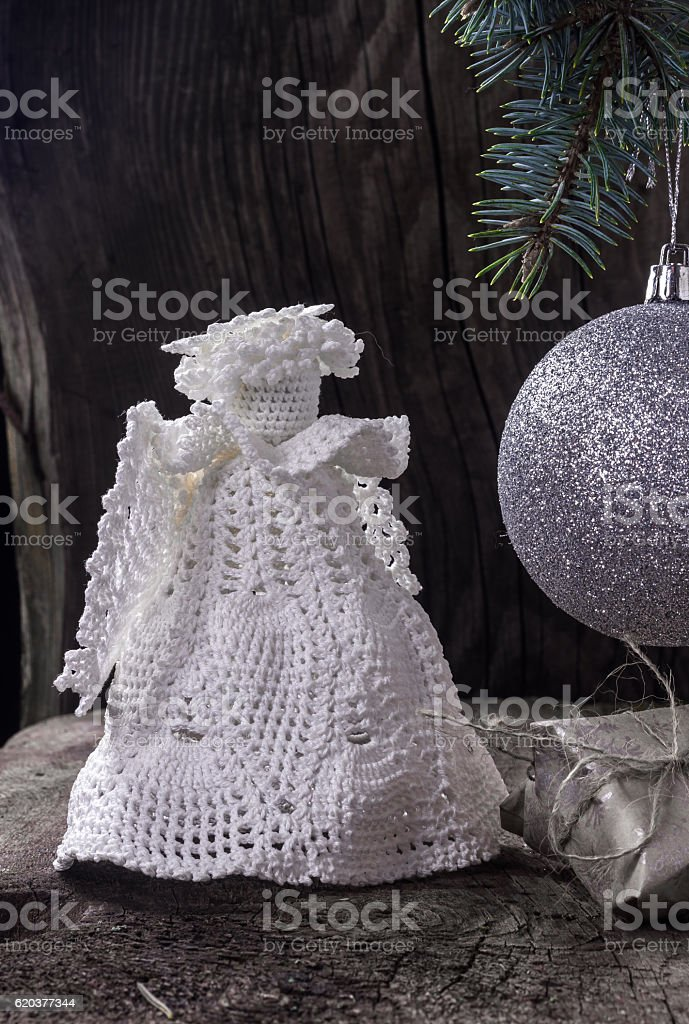 Christmas angel with a ball on the Christmas tree foto de stock royalty-free